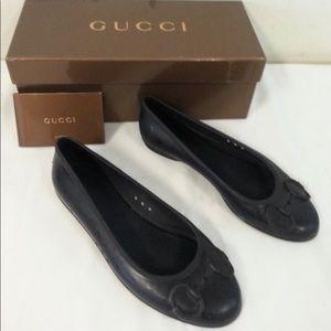 Gucci Black Rubber Nero women's flats 5.5